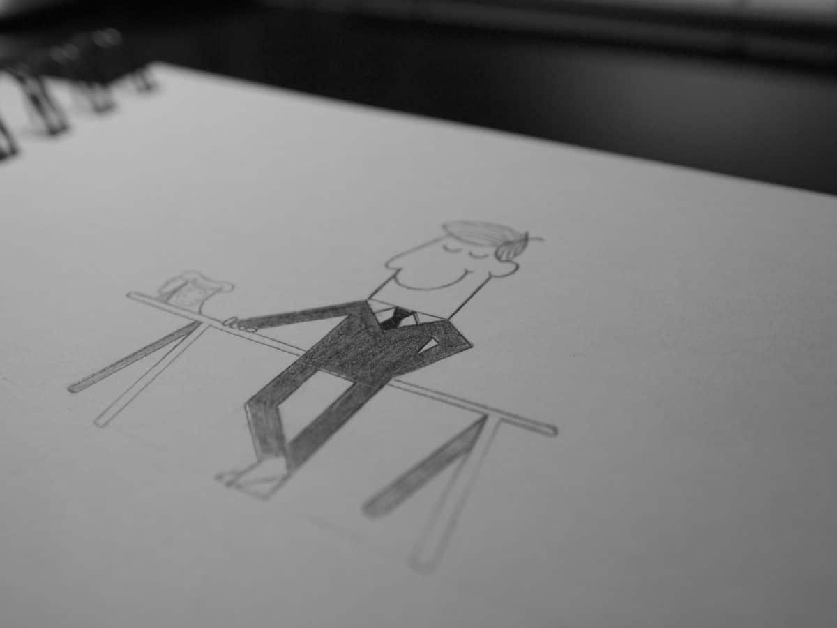 Cartoon drawn businessman