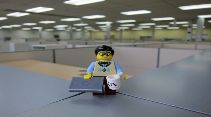 Lego man with his laptop