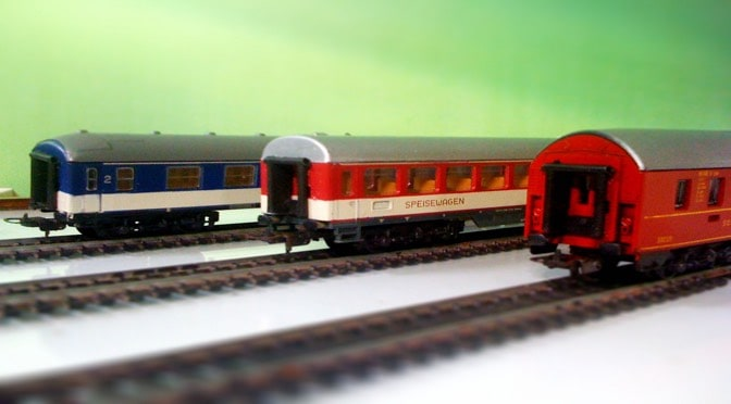 Three toy trains