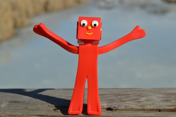 Happy red character