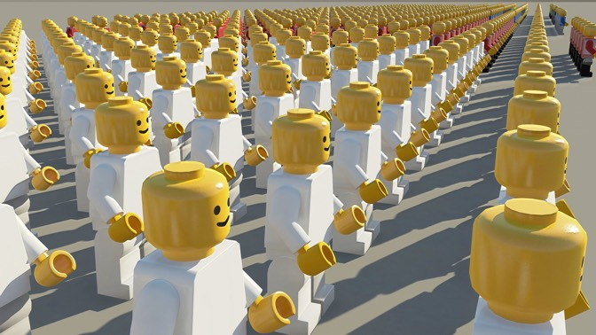 Lego men in white