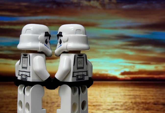 Stormtroopers holding hands