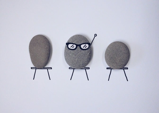 Rocks as humans in a classroom