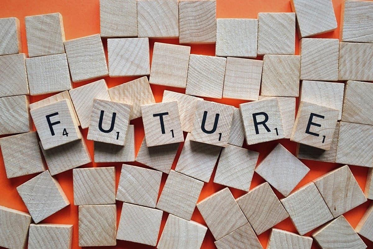Scrabble tiles spelling future