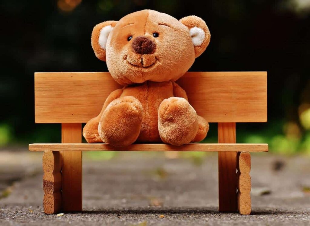 A bear on a bench