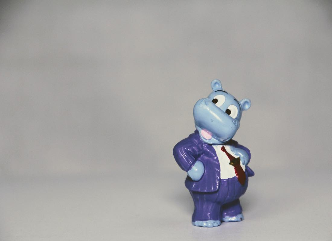 Toy hippopotamus wearing a suite and tie