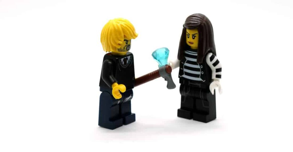 Two lego people talking