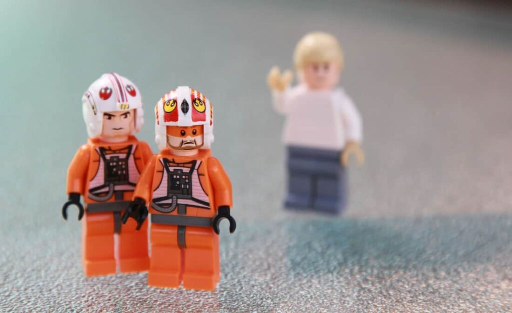 three lego people